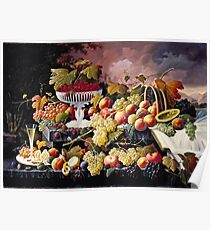Severin Roesen - Fruit Still Life In A Landscape 1862  Poster