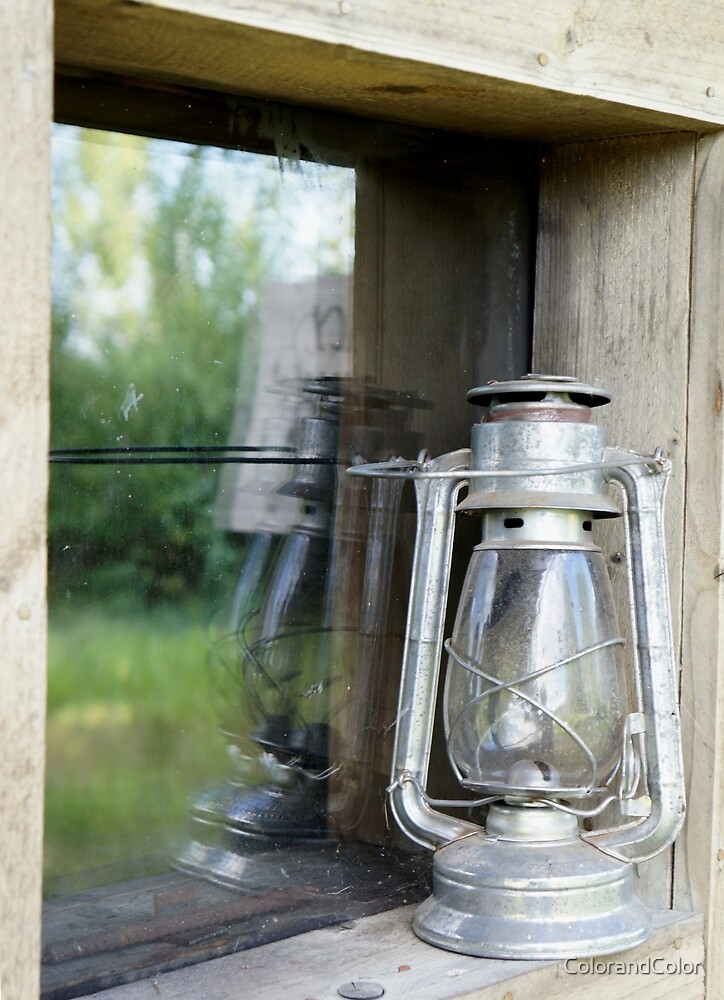 lamp outside cabin by ColorandColor