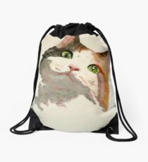 I'm All Ears: A Curious Calico Cat Portrait Drawstring Bag