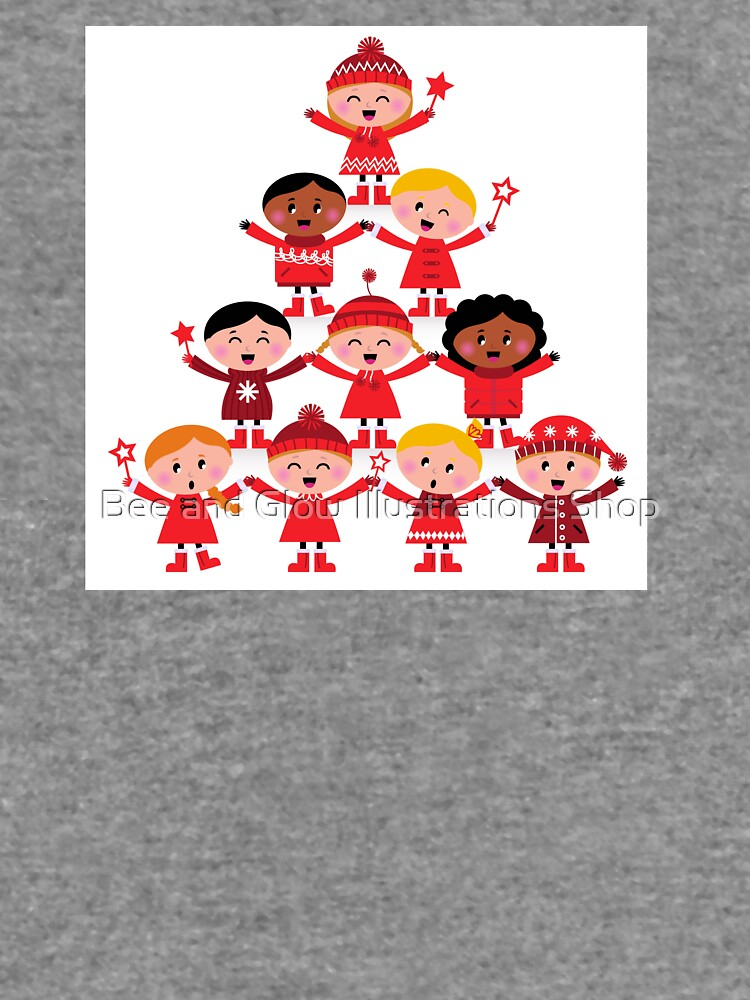 Happy multicultural kids in red winter costumes. Great design for christmas party. by wellnessSisters