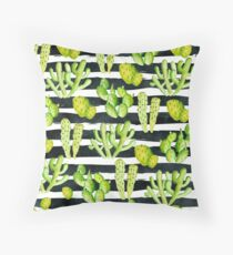 cactuses on black watercolor stripes Throw Pillow