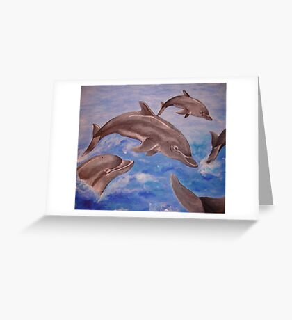 Jumping Dolphins And  Blue Sea Greeting Card
