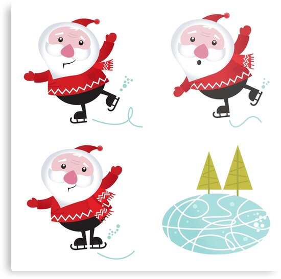 Cute series of ice skating Santas by Bee and Glow Illustrations Shop