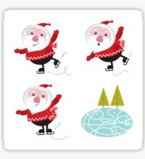 Cute series of ice skating Santas Sticker
