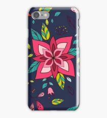 Pink flower, bold, bright and fun retro flora and leaves illustration on black, classic statement fashion clothing, soft furnishings and home decor  iPhone Case/Skin
