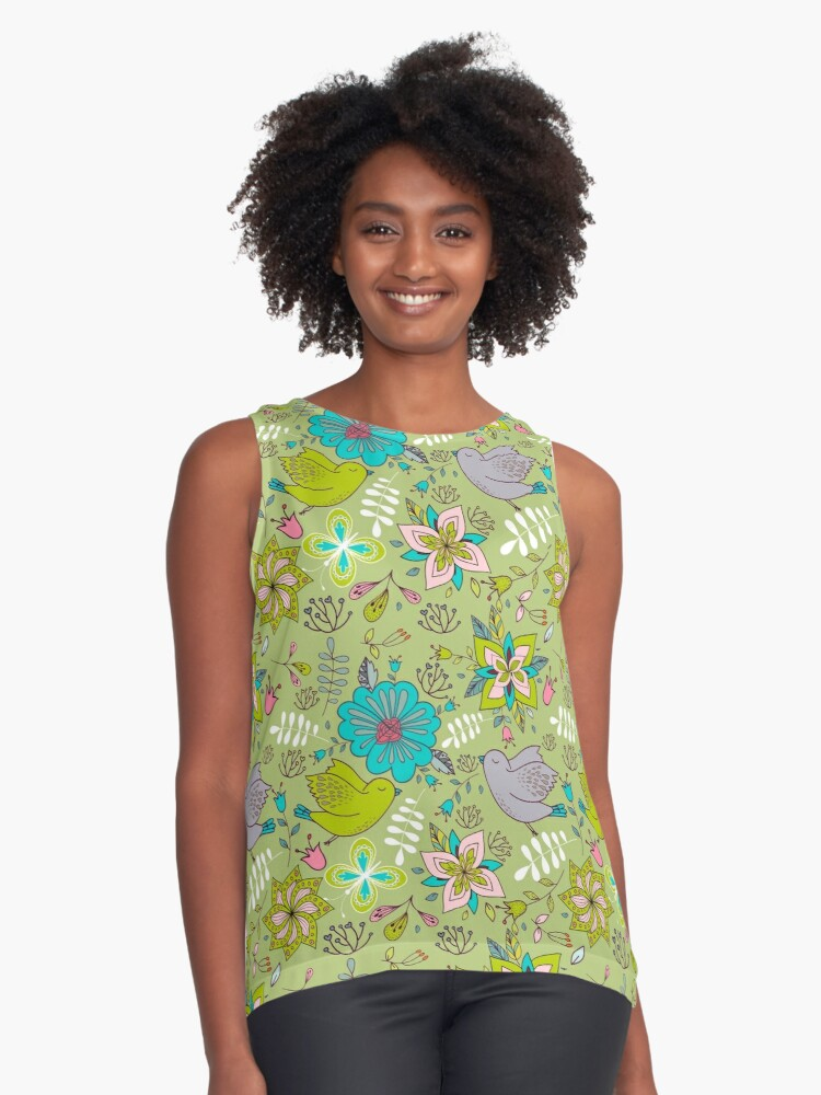 Sweet flowers and birds in flight, a cute line drawing pattern on a fun lime green background, classic statement fashion clothing, soft furnishings and home decor   Contrast Tank Front