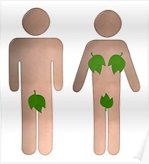 Male and Female Toilet Sign With Leaves Poster