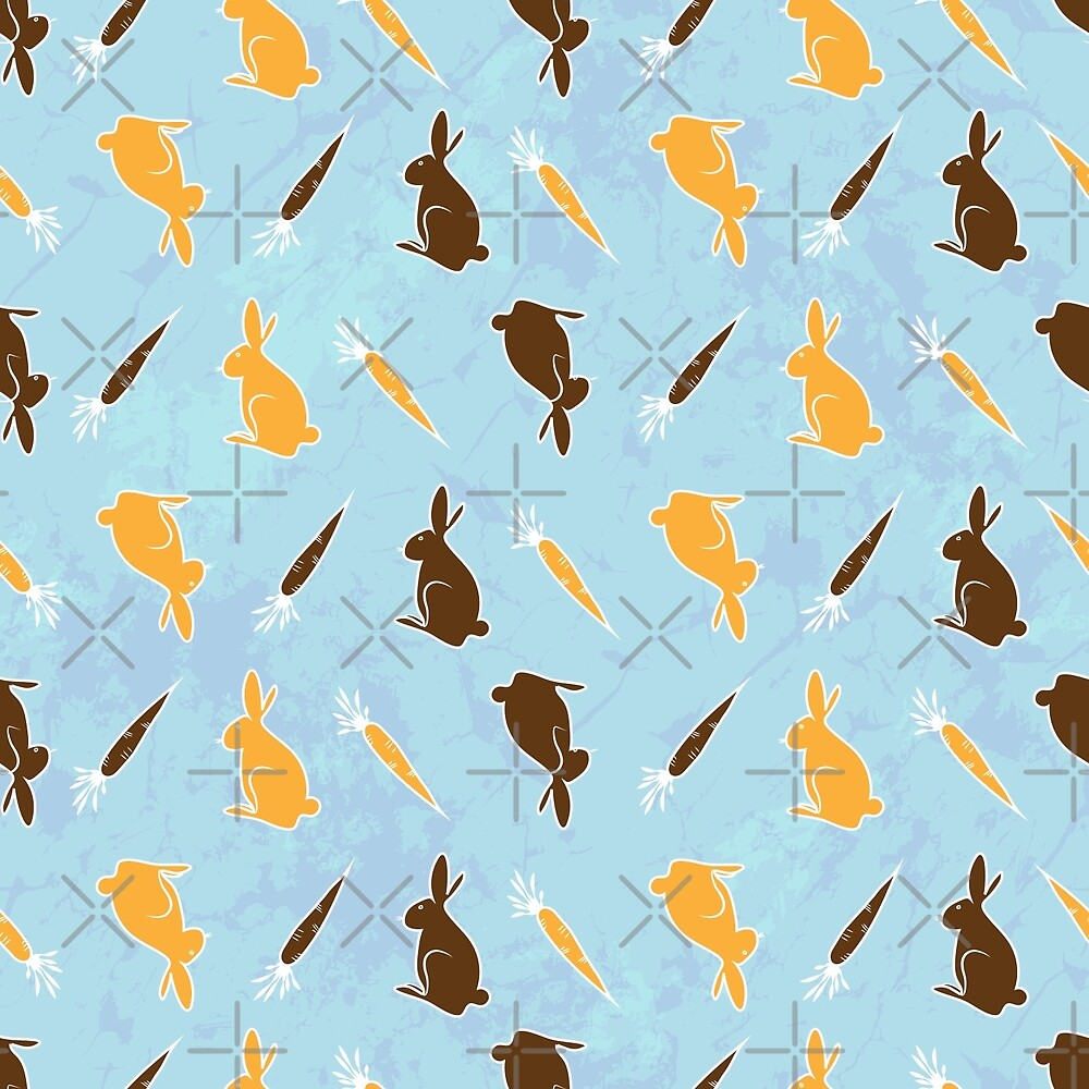 Seamless Pattern With Carrot And Bunny by Olga Altunina