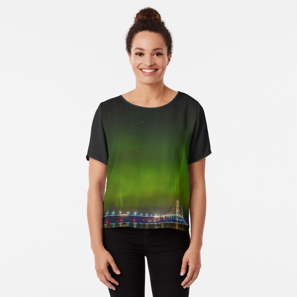 Mackinac Bridge Women's Chiffon Top Front