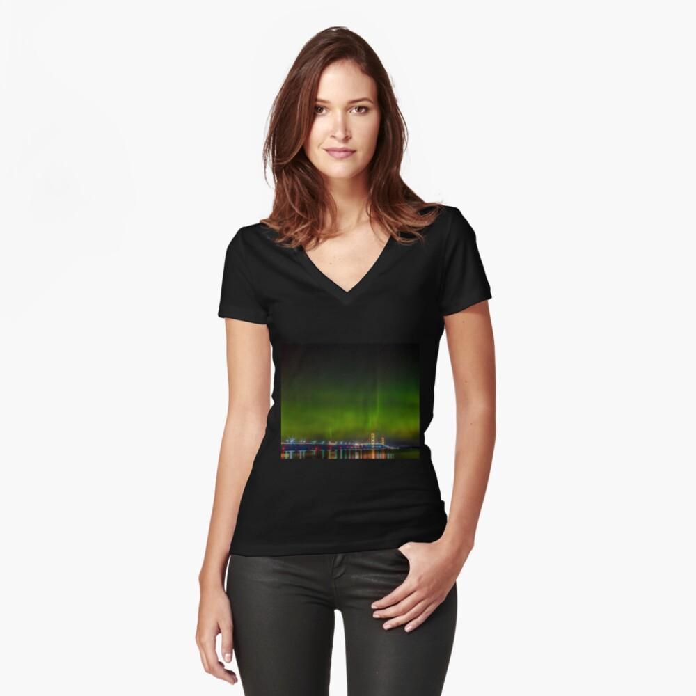 Mackinac Bridge Women's Fitted V-Neck T-Shirt Front