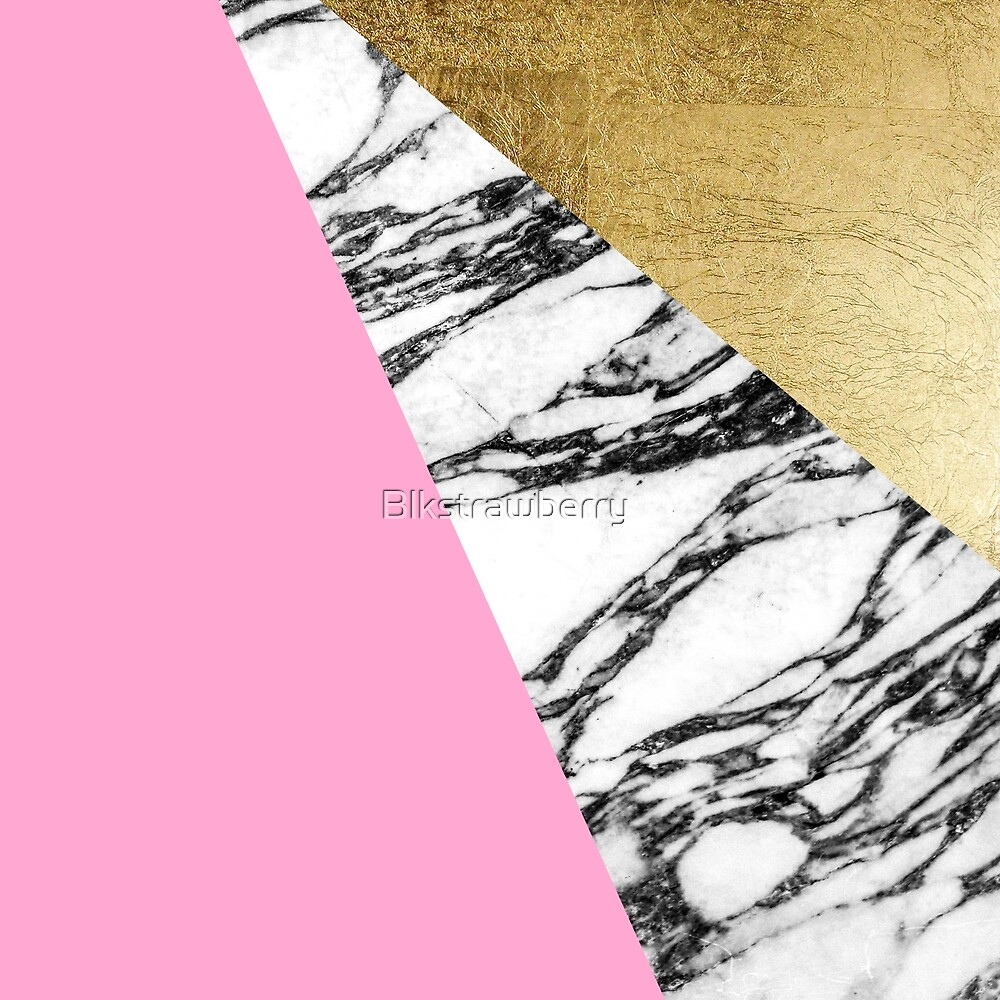 Girly Modern Pink Gold and Marble Triangular Cut by Blkstrawberry