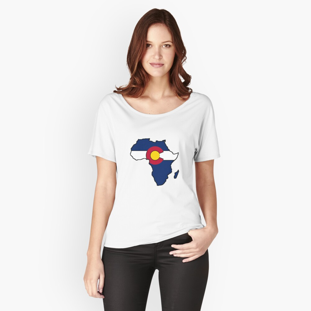 Colorado flag Africa outline Women's Relaxed Fit T-Shirt Front