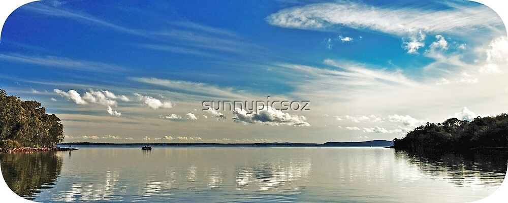 Brilliant Blue and White Cloud Waterscape. by sunnypicsoz