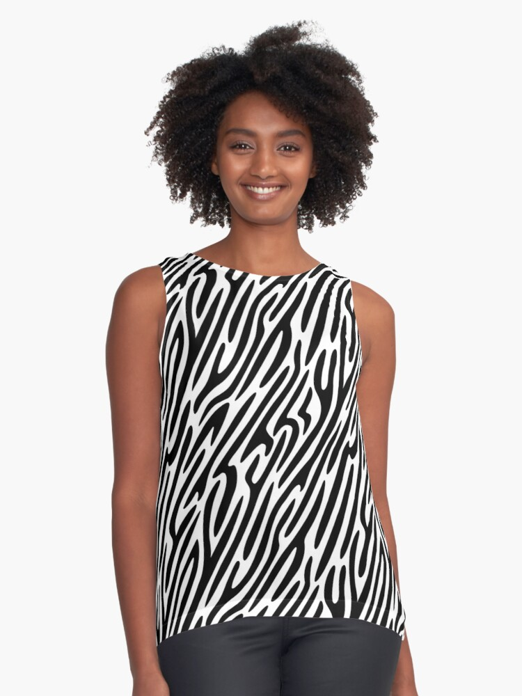 Zebra stripes print 1, fun bold animal print design in black and white, classic statement fashion clothing, soft furnishings and home decor  Contrast Tank Front
