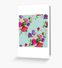 Shabby chic,turqouise,pink,red purple,green,flowers,carnations,roses,peonies Greeting Card