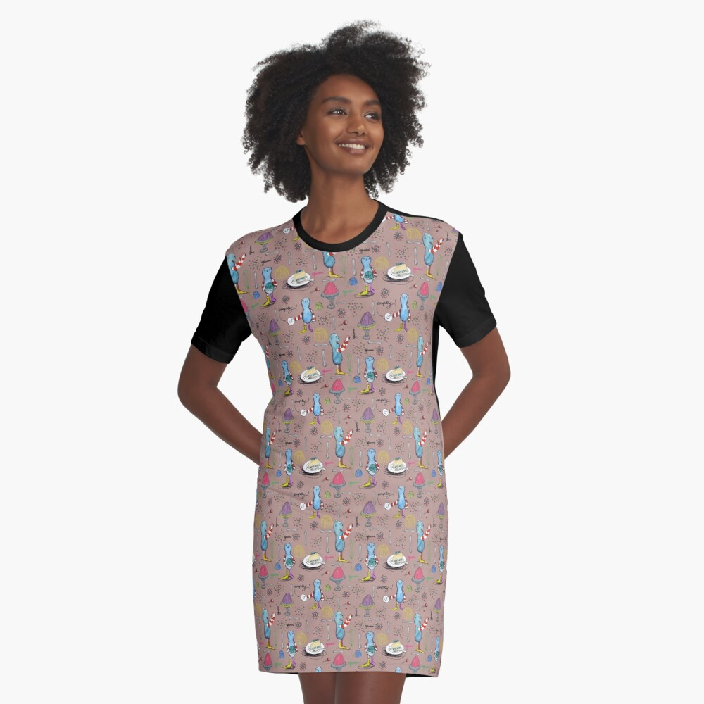 Monster and jello Graphic T-Shirt Dress Front