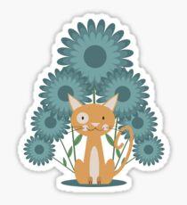 Cat in the Flowerfield Sticker