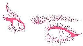 pink eyes and face cartoon by abeso
