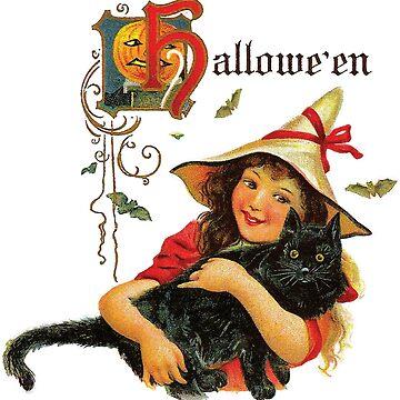 Vintage Halloween Girl Hugging a Black Cat by kindawonderful