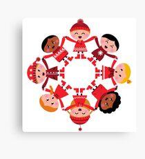 Cute winter kids in circle Canvas Print