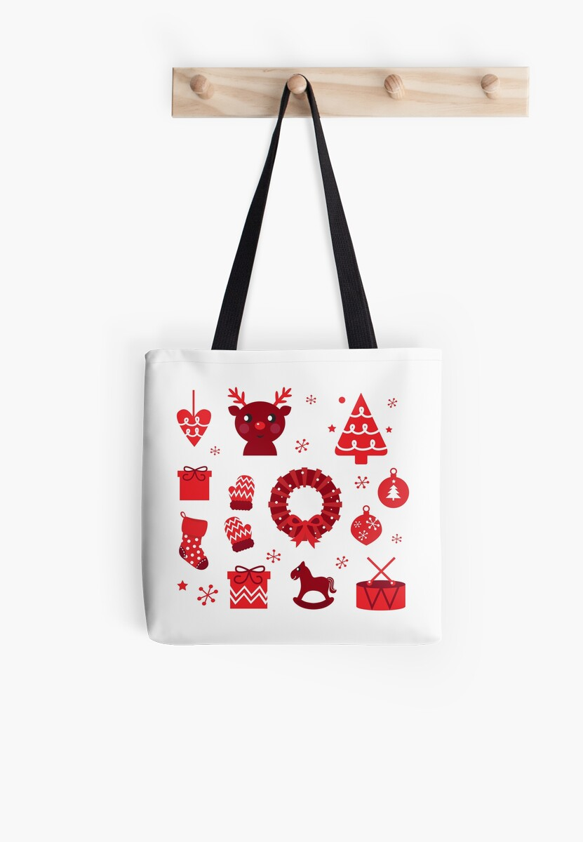 Red retro xmas items and elements ( red ) by Bee and Glow Illustrations Shop