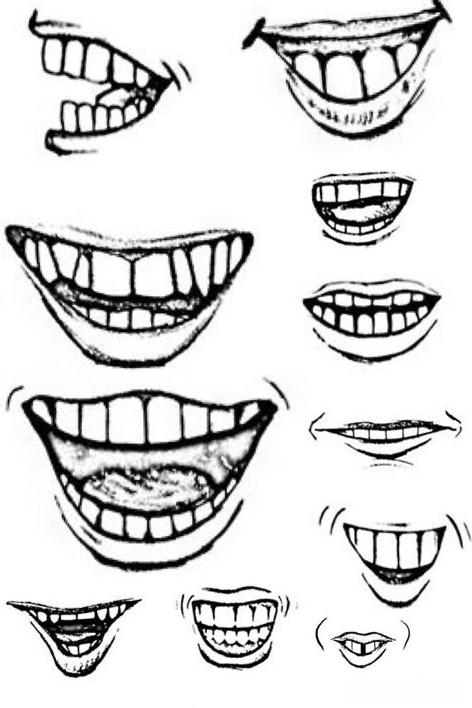 B&W cartoons mouths lips teeth by abeso
