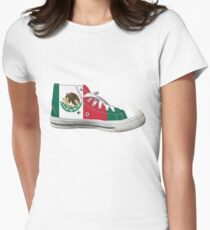 Hi Top Mexico Basketball Shoe Flag Women's Fitted T-Shirt
