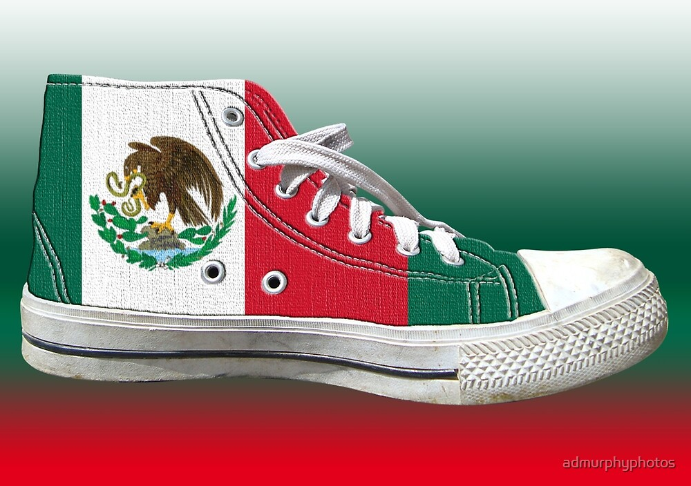Hi Top Mexico Basketball Shoe Flag by admurphyphotos