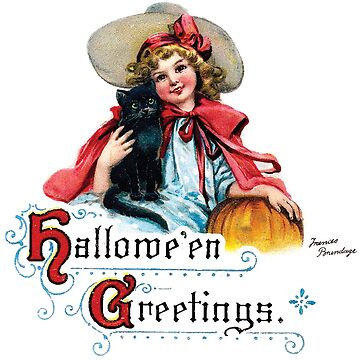 Vintage Halloween Girl with Black Cat & Pumpkin by kindawonderful