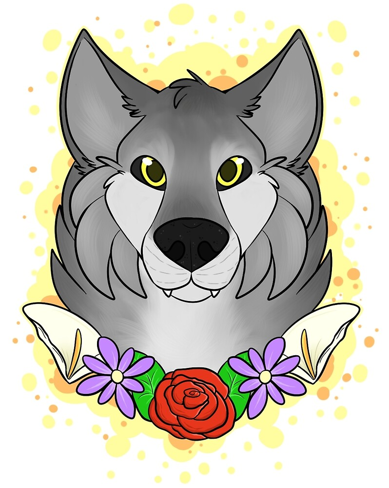 Floral Wolf by Iceshadow13