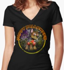 Halloween Puppy Women's Fitted V-Neck T-Shirt