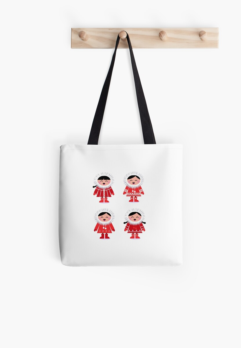 Cute eskimo children in red coat by Bee and Glow Illustrations Shop
