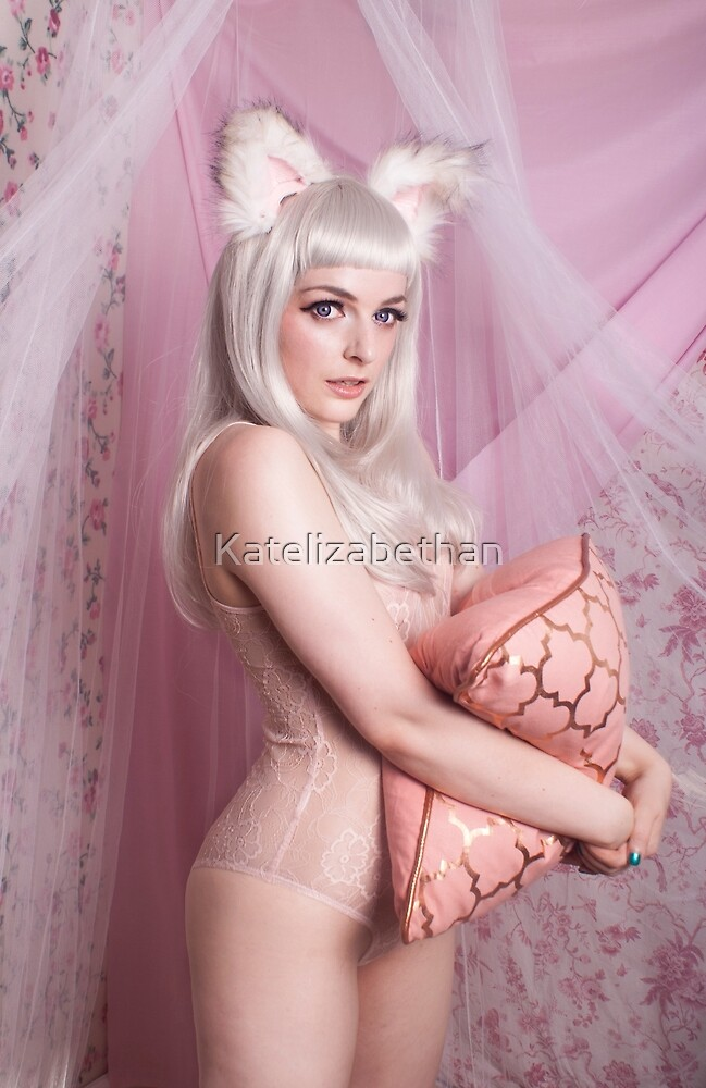 White Cat Girl Cute by Katelizabethan