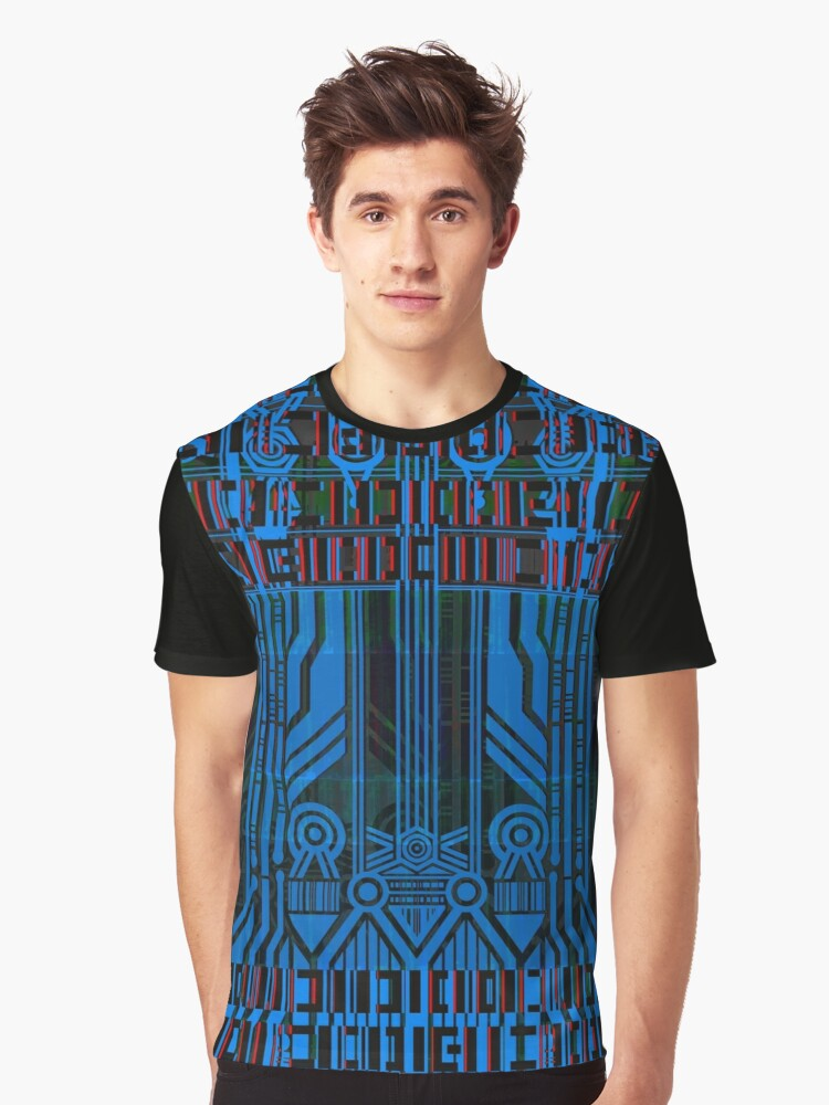 Cyberpunk Glitch Pattern 1 Graphic T-Shirt Front
