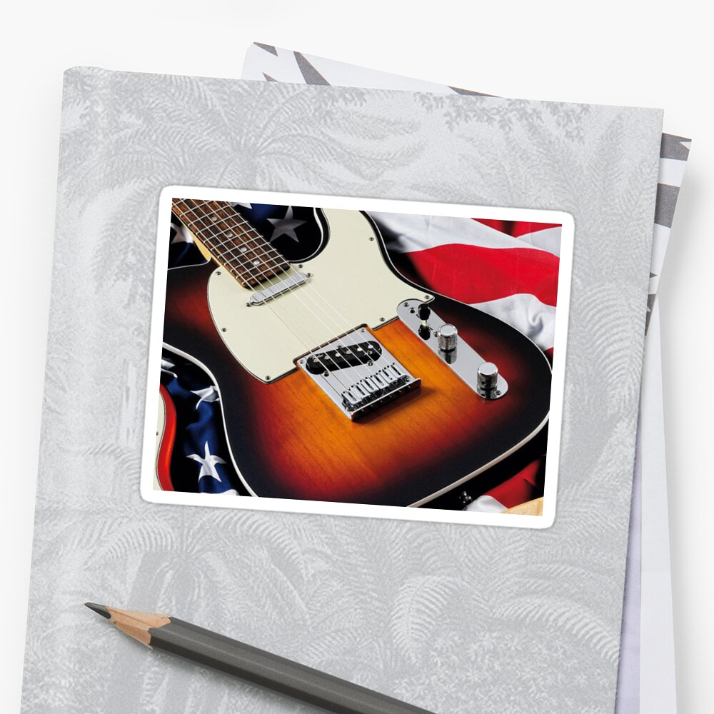 Vintage Electric Guitar Sticker by holidays4you