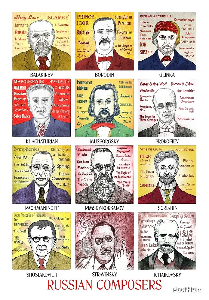 12 Russian Composer Portraits by Paul Helm