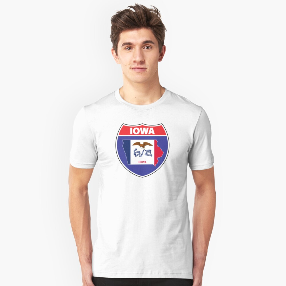Iowa flag USA highway seal sign Unisex T-Shirt Front