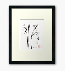 """Morning""  sumi-e brush pen bamboo drawing/painting Framed Print"