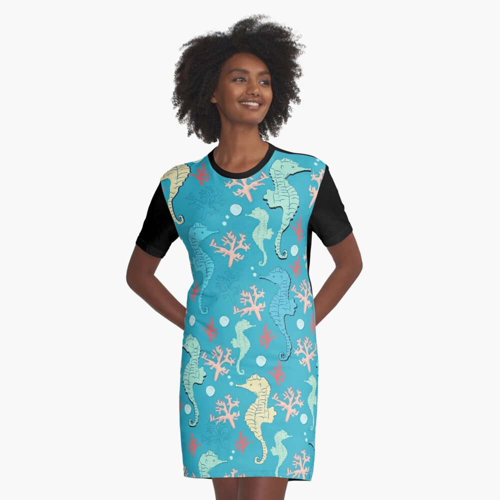 Sea of Seahorses (Bold) Graphic T-Shirt Dress