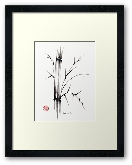 'Simplicity' paper & brush ink pen hand drawing by Rebecca Rees