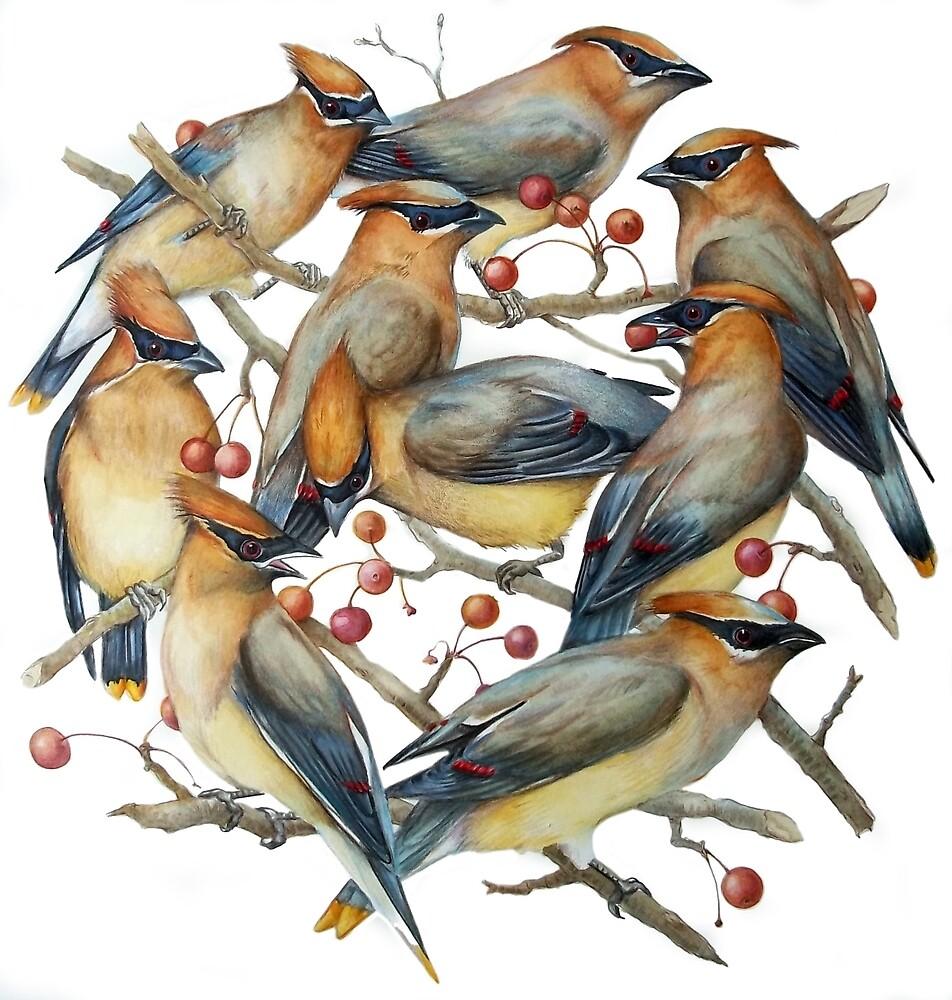 Cedar Waxwings, Circle of Birds by EmmaSkurnick