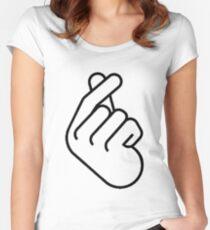 Korean Finger Heart Ver. 2 Women's Fitted Scoop T-Shirt