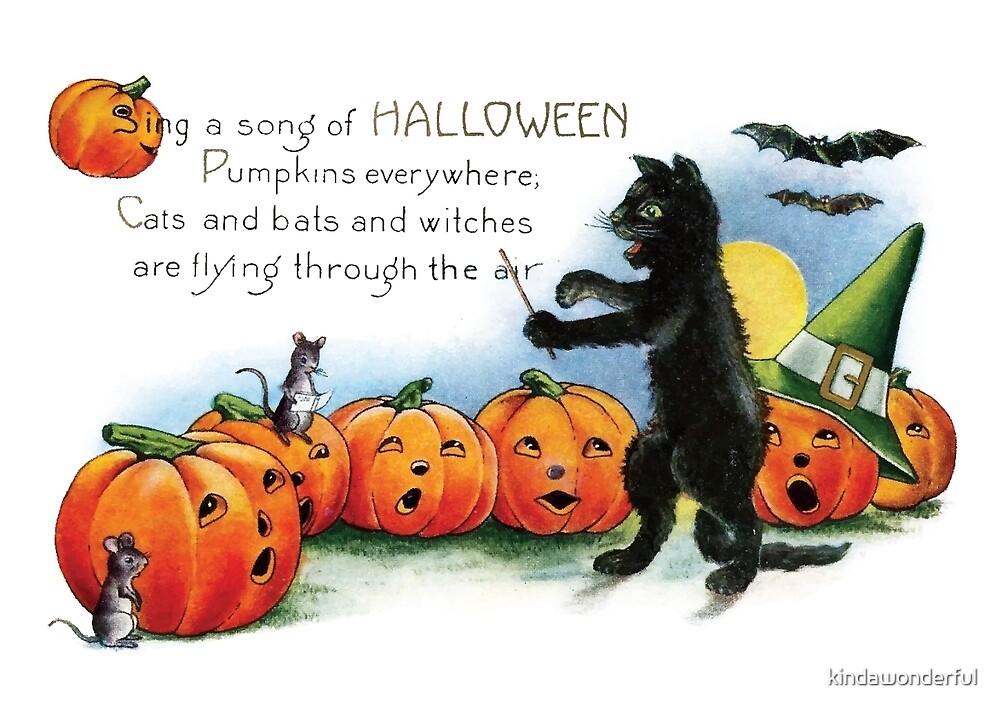 Vintage Halloween Black Cat Choir by kindawonderful