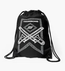 Trombone - White & Gray Drawstring Bag
