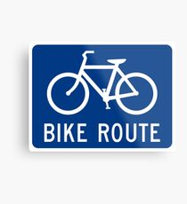 Bike Route Sign Metal Print