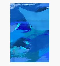 Blue Brush Strokes Photographic Print