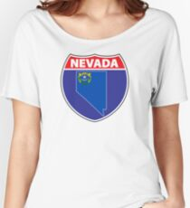 Nevada flag USA hghway seal sign Women's Relaxed Fit T-Shirt