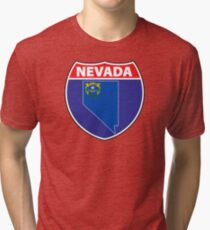 Nevada flag USA hghway seal sign Tri-blend T-Shirt