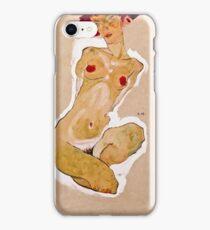Egon Schiele - Squatting Female Nude (1910)  iPhone Case/Skin