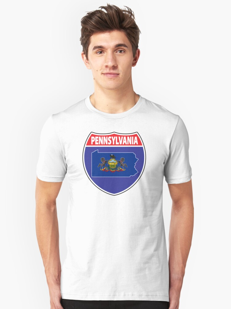 Pennsylvania flag USA highway seal sign Unisex T-Shirt Front